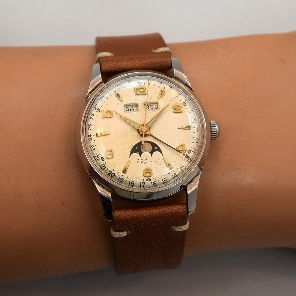1950's Vintage Zodiac Very Early Stainless Steel Triple Date (Day