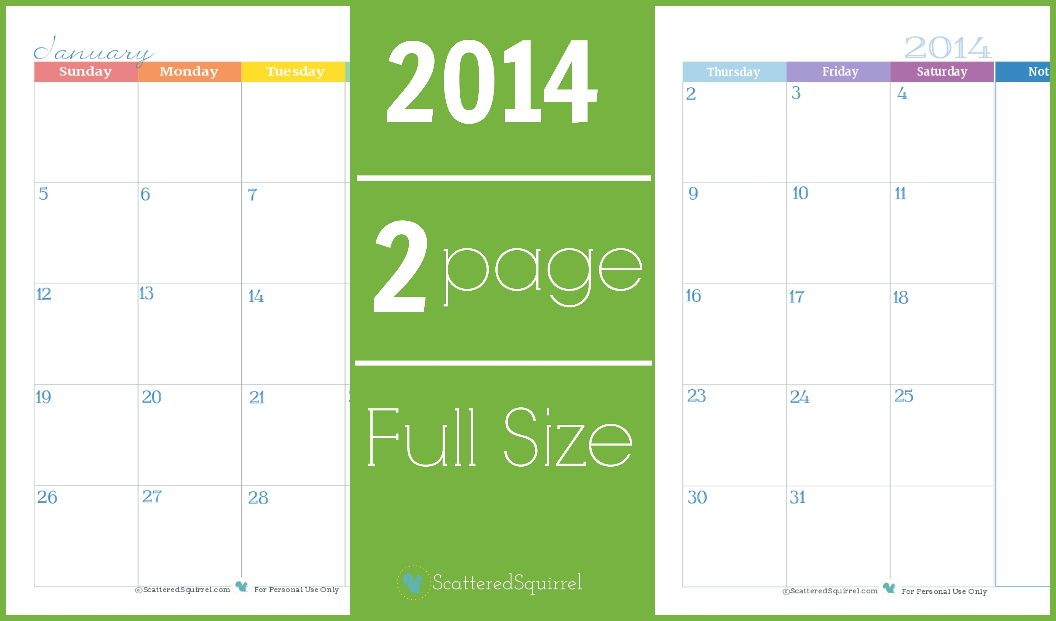 2014 Calendar: Two Page Monthly - Scattered Squirrel
