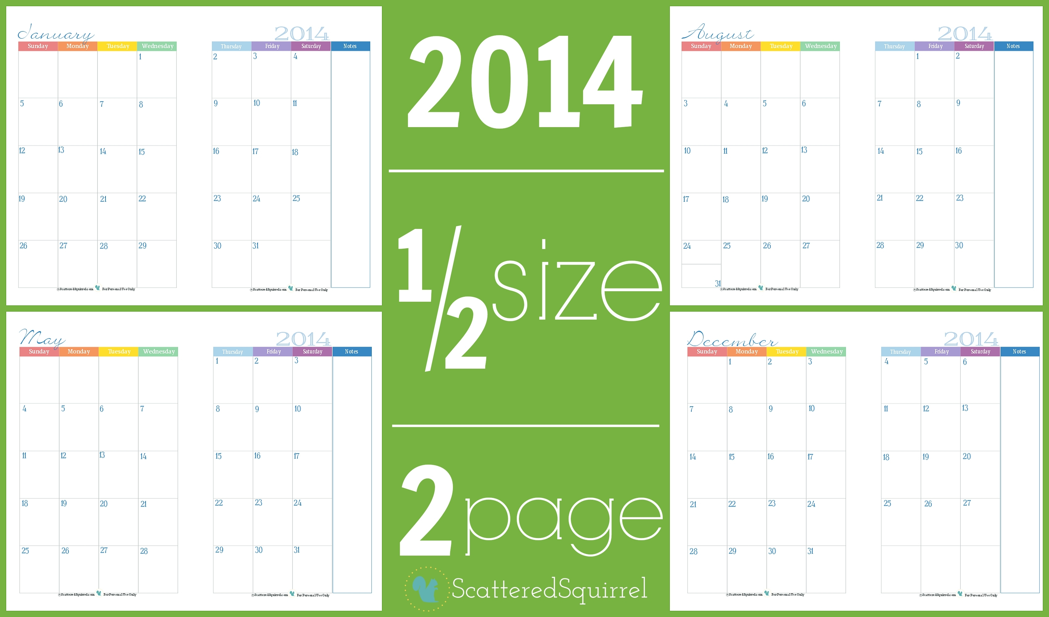2014 Calendars: Part 3 – Scattered Squirrel Printable Calendar 2018