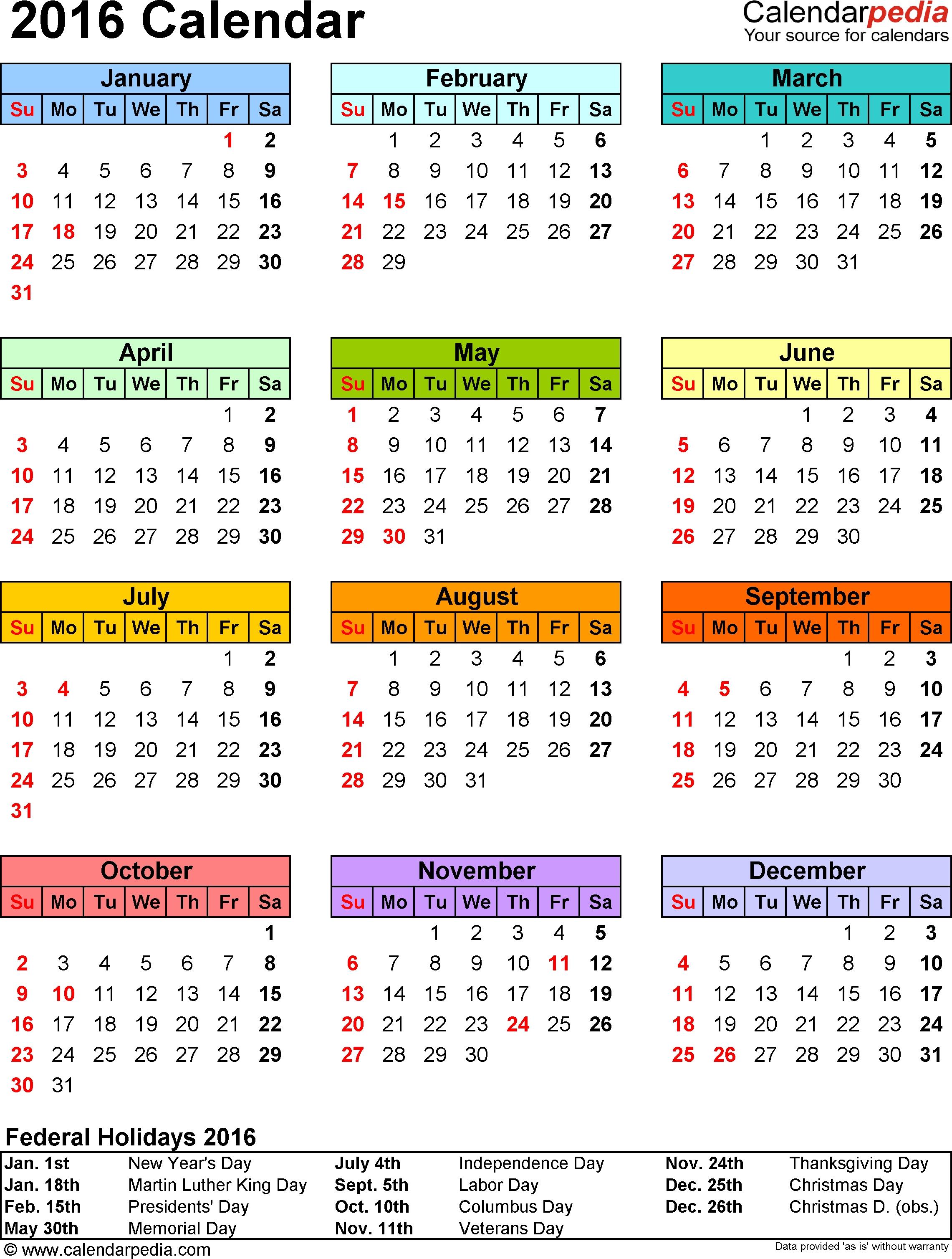 2016 Calendar - Download 16 Free Printable Excel Templates (.xlsx)