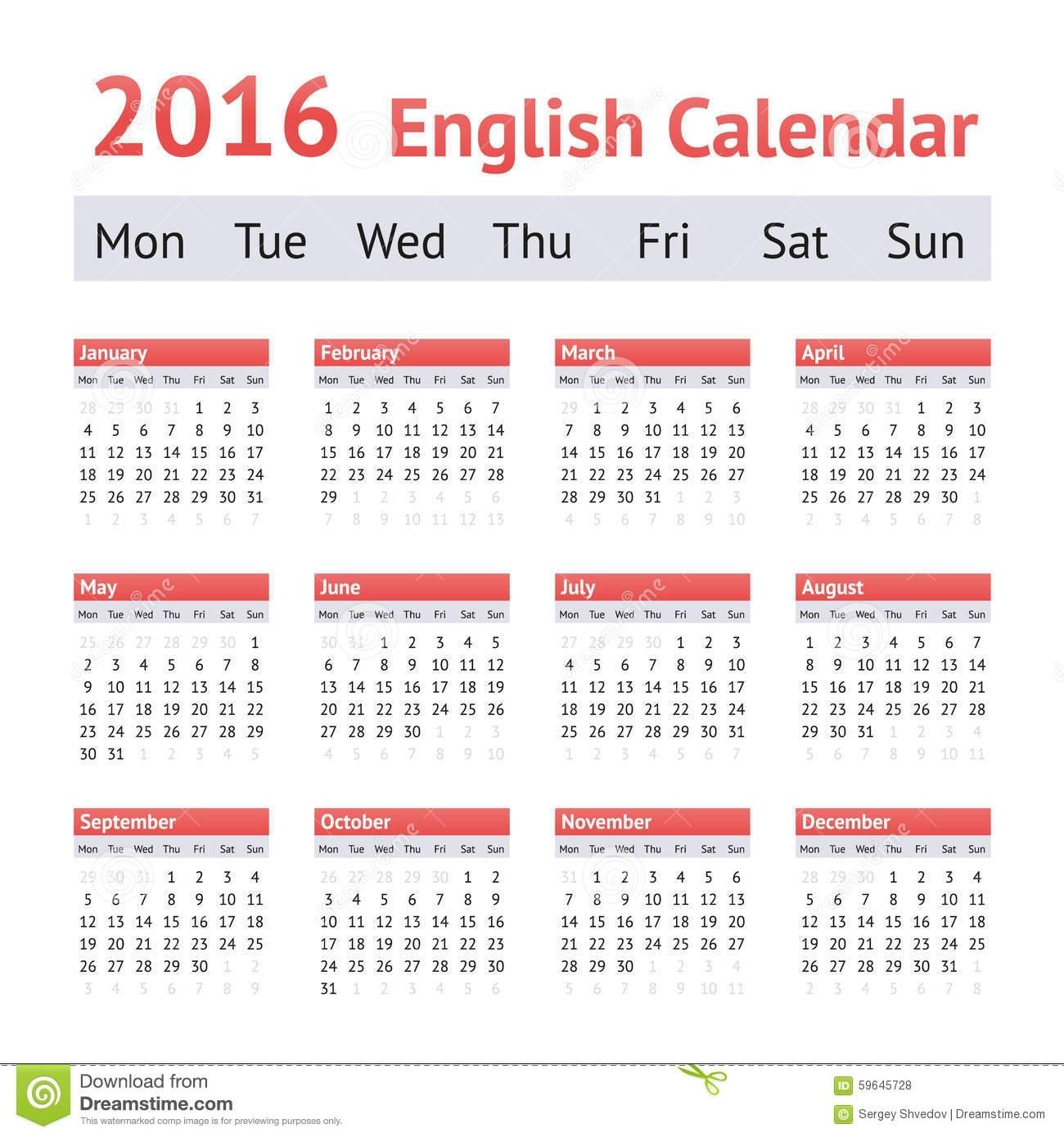 2016 European English Calendar. Week Starts On Monday Stock Vector