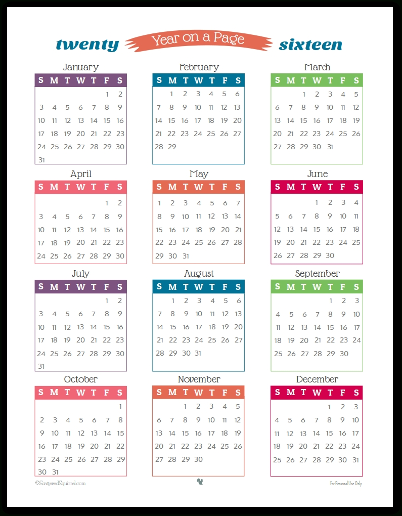 2 Year Calendar On One Page | Ten Free Printable Calendar ...