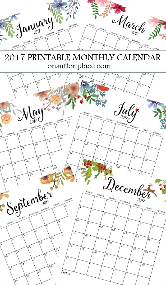 2017 Free Printable Monthly Calendar   Bloggers' Best Diy Ideas