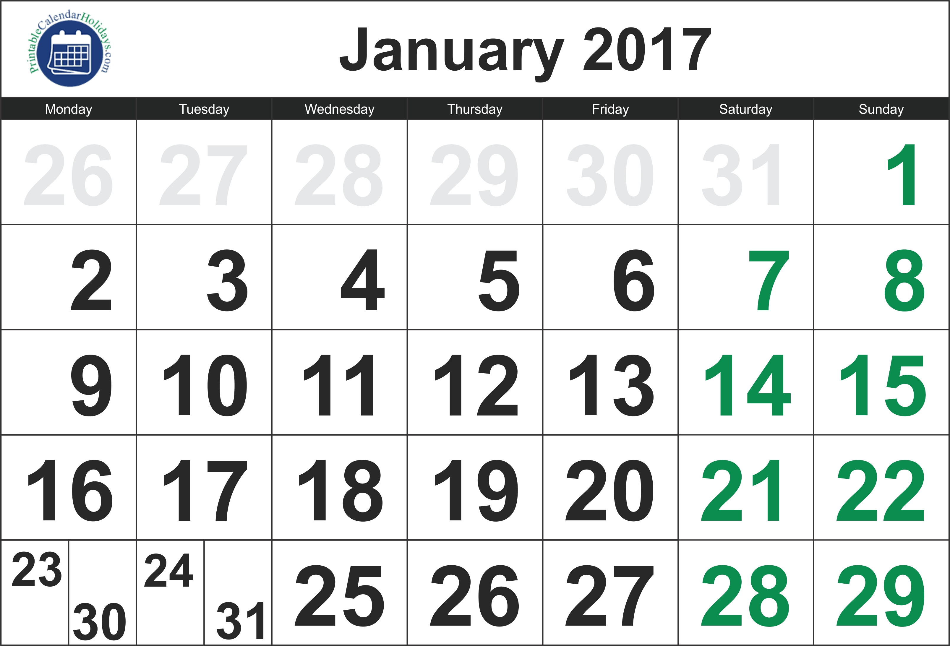 2017 January Calendar - Printable 2017 2018 2019 2020 Calendar