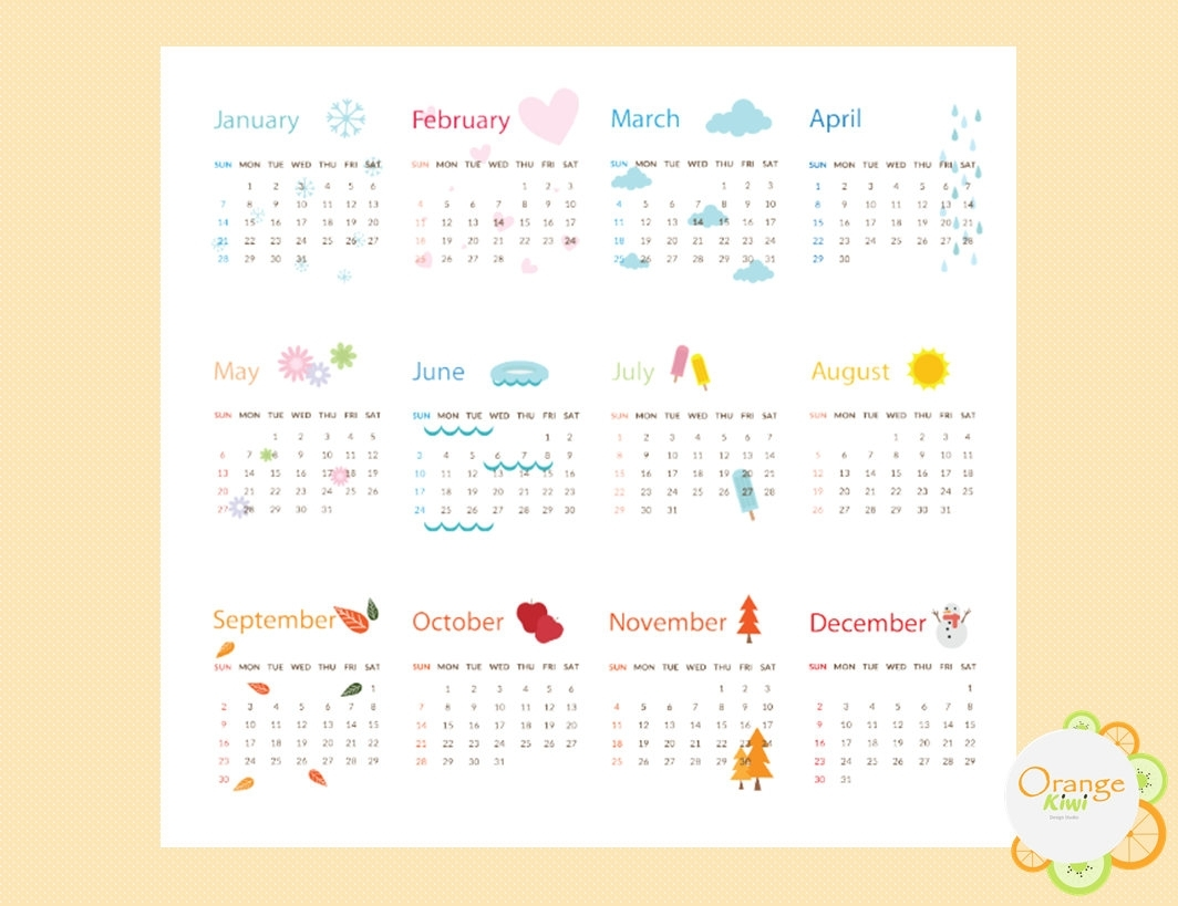 2018 Calendar Stickers 2018 Mini Calendars Week At A Glance   Etsy