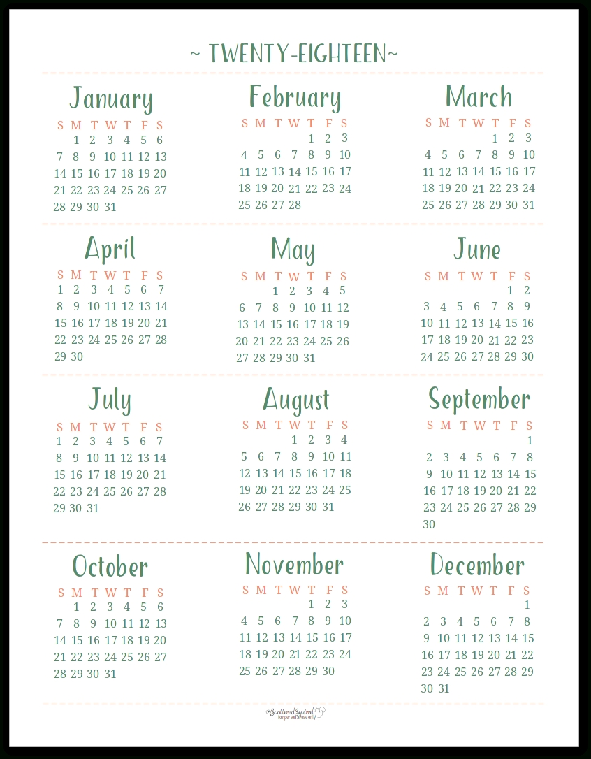 Free Printable Calendar Scattered Squirrel | Ten Free ...