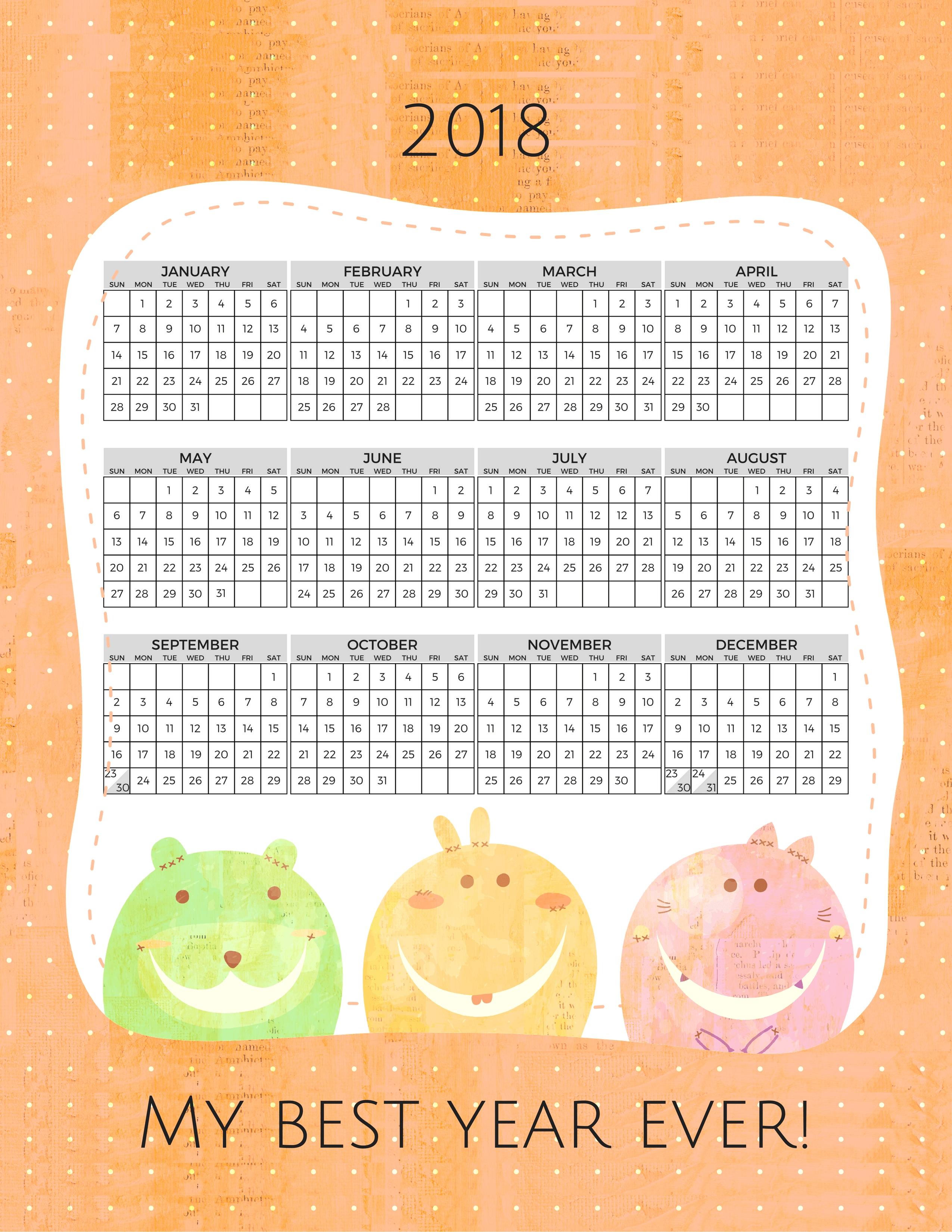 2018 Free Printable Calendar For Kids - Printables And Inspirations
