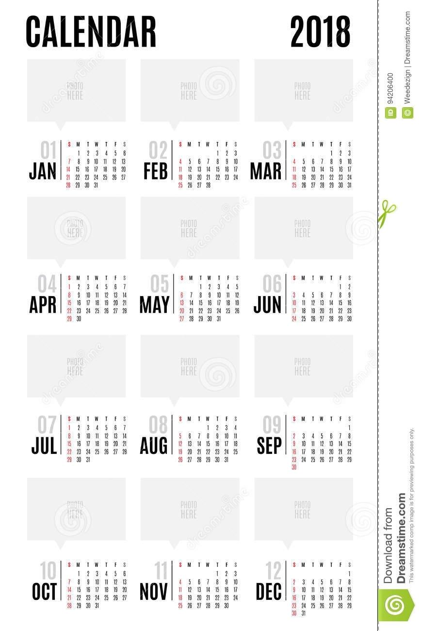 2018 Vector Calendar Modern Simple Design,leave Space For Adding