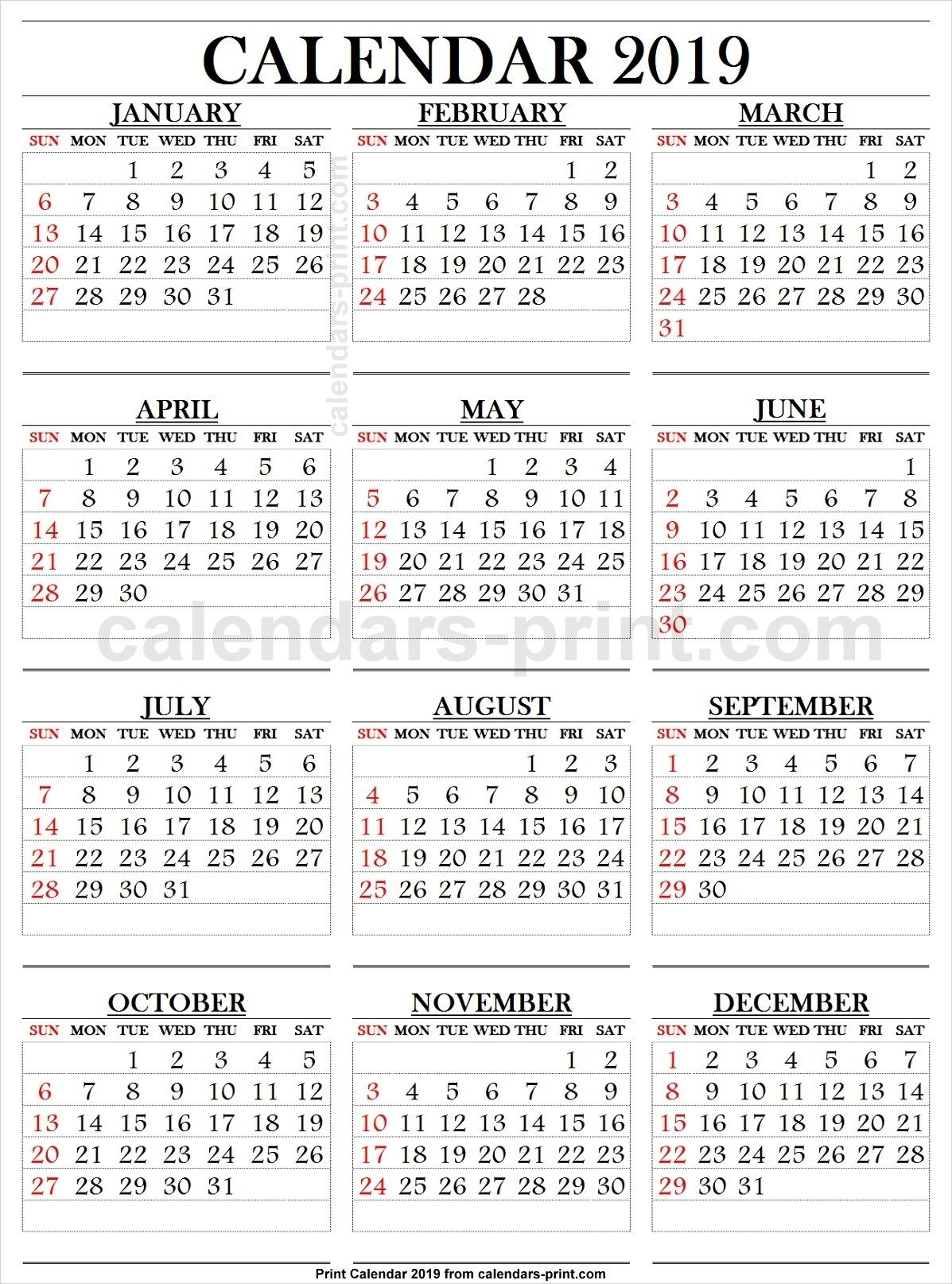2019 Calendar Large Numbers | 2019 Yearly Calendar | Pinterest