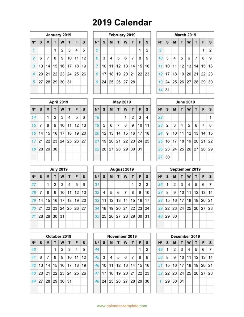 5 Year Calendar On One Page   Ten Free Printable Calendar ...