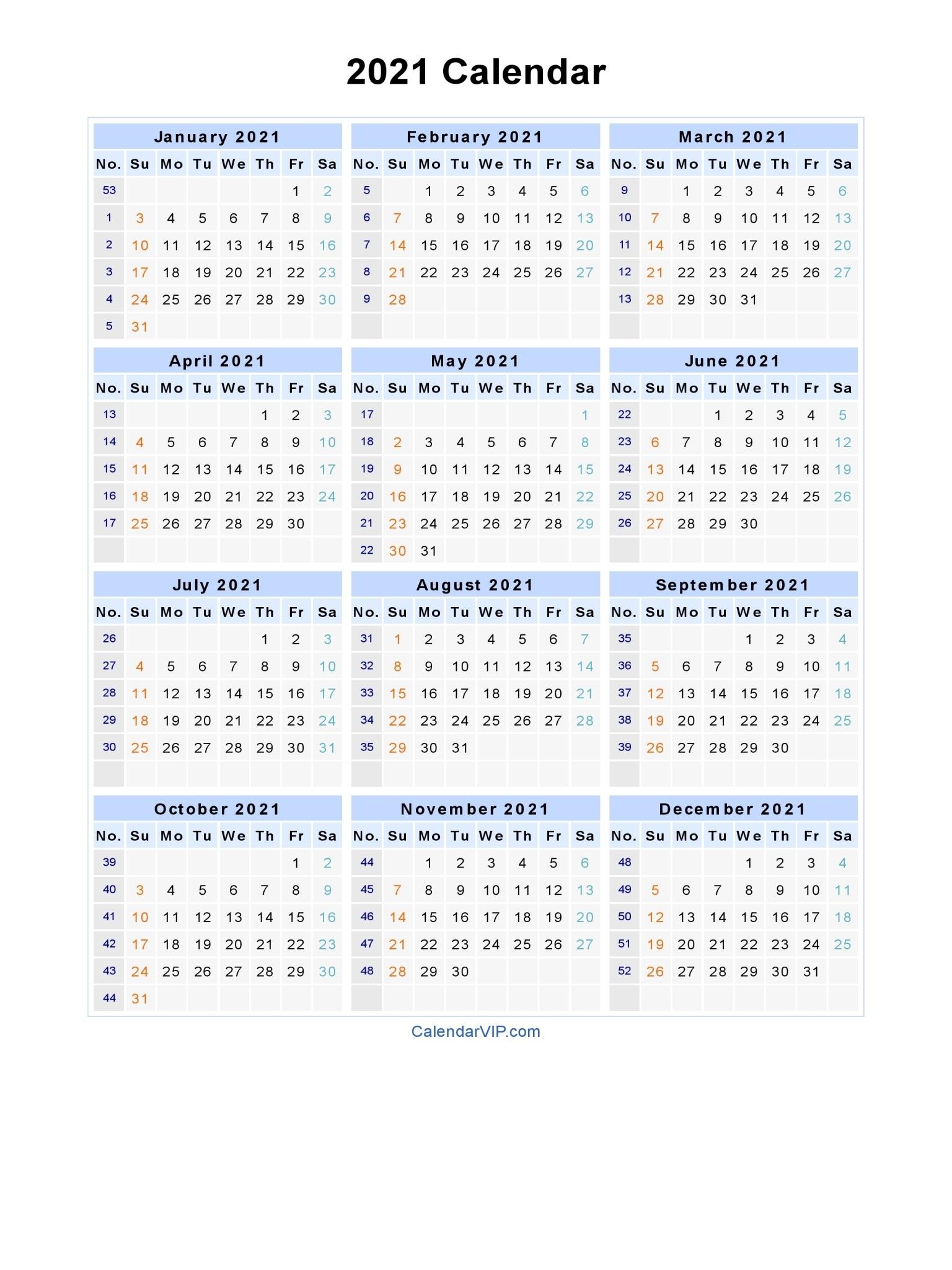 Free Printable Calendar Year 2021 | Ten Free Printable ...