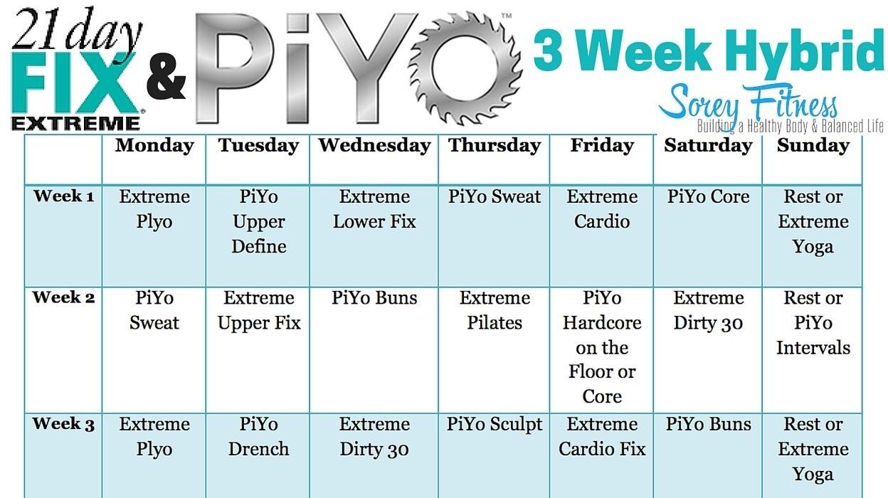 21 Day Fix Extreme Piyo Hybrid Workout Calendar | 21 Day Fix Extreme