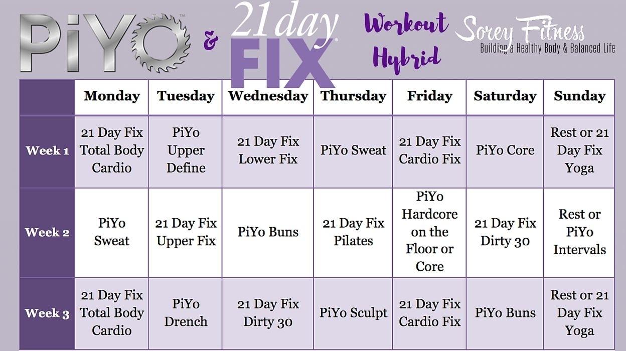 21 Day Fix Piyo Hybrid Workout Calendar | 21 Day Fix Review