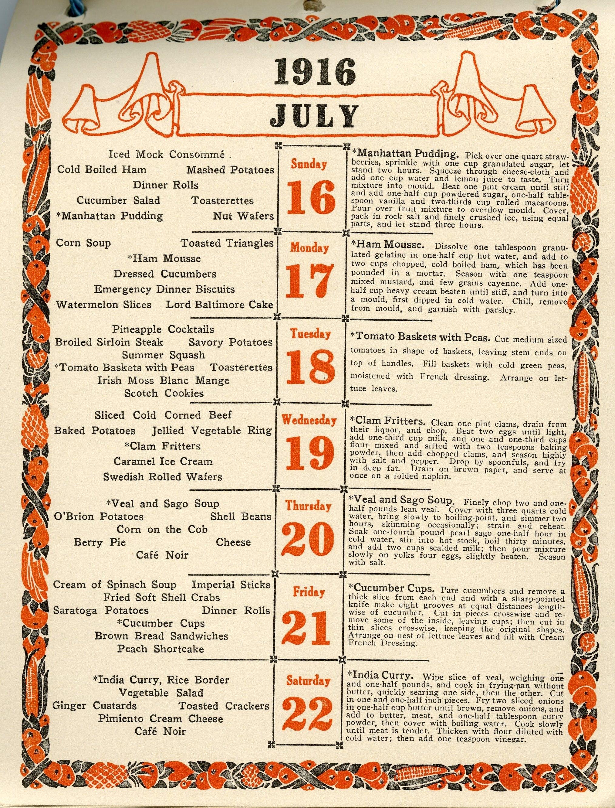 A Week Of Dinners From Fannie Farmer's 1916 Calendar [X-Post /r