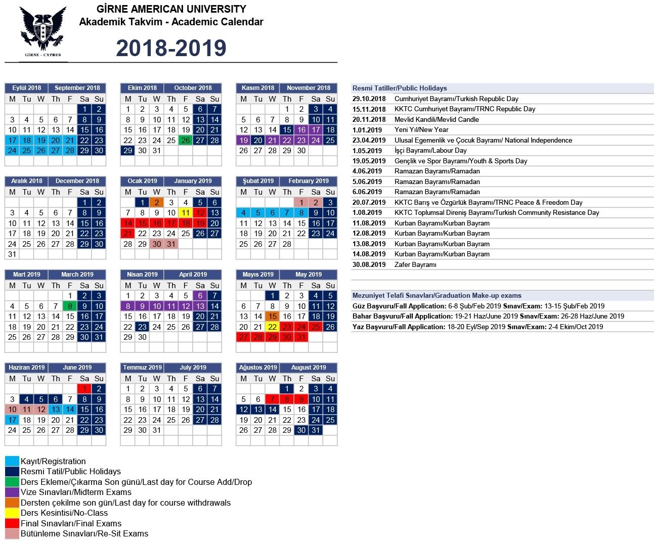 Academic Calendar - Girne American University