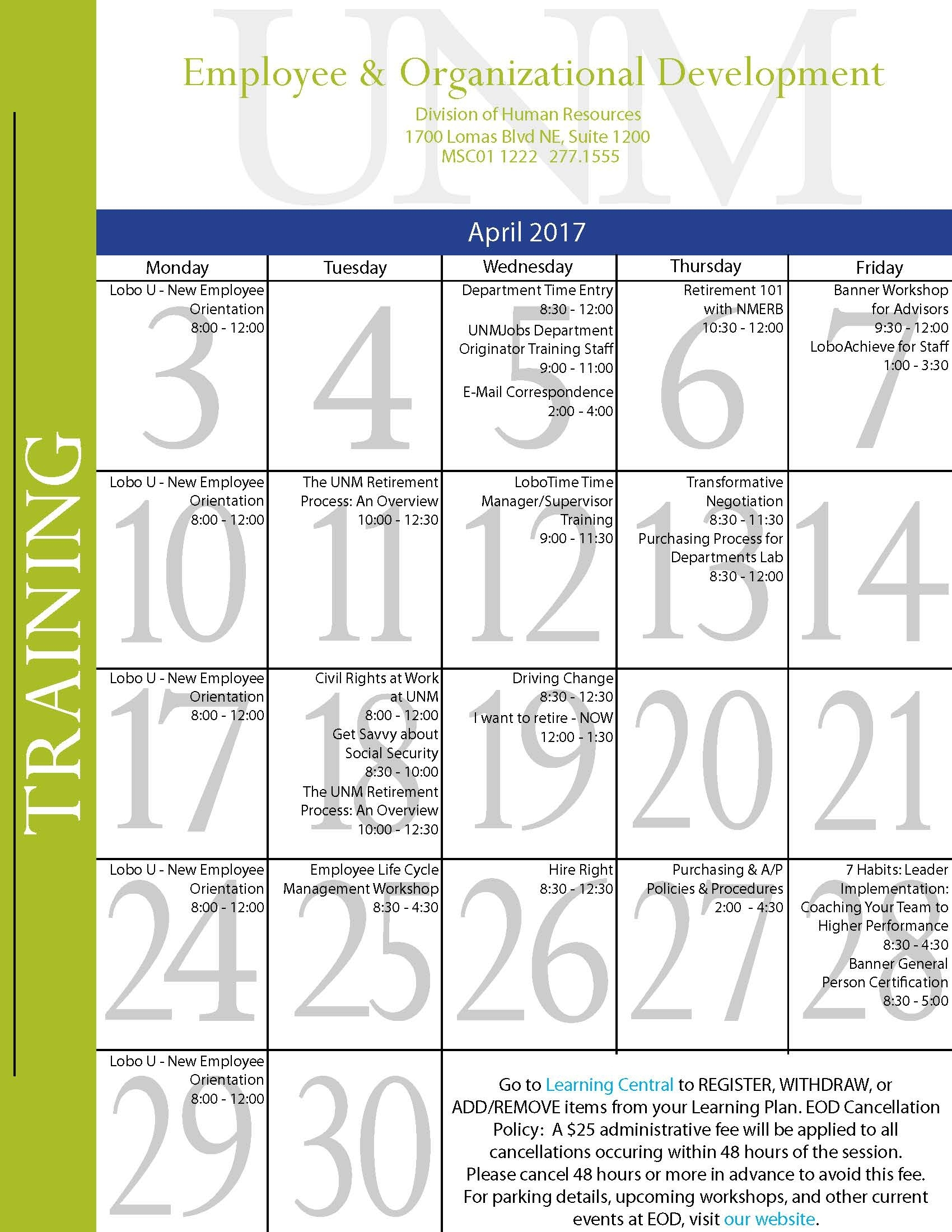 April 2017 Training Calendar :: Human Resources | The University Of