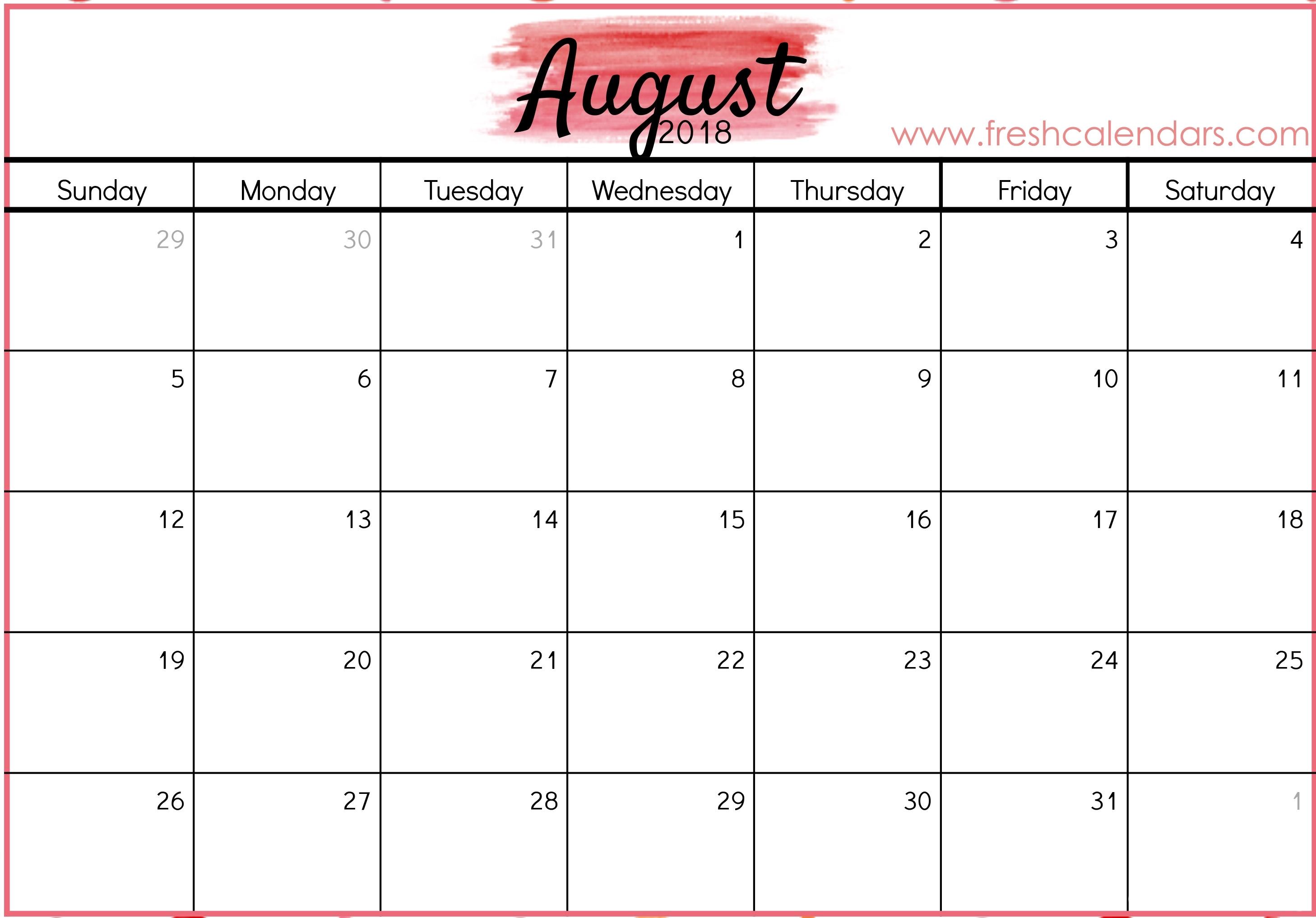 Blank August 2018 Calendar Printable Templates Printable Calendar