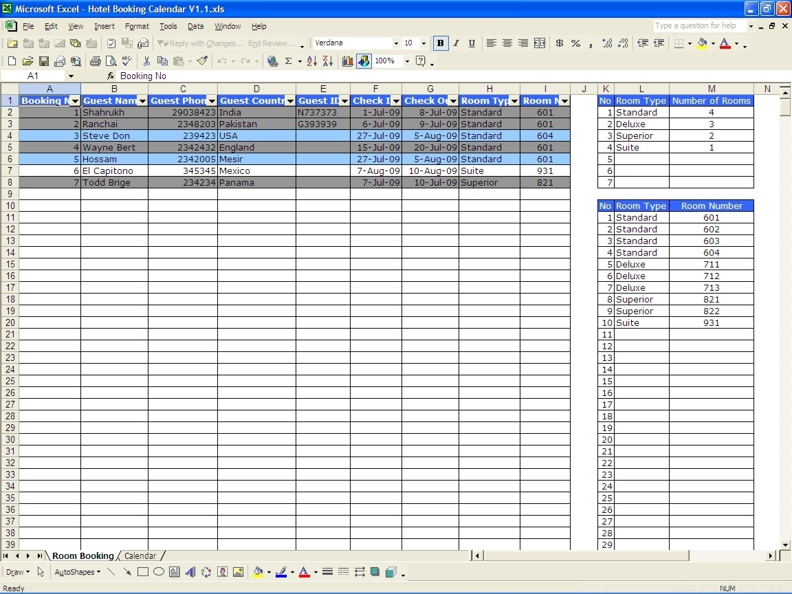 Booking Calendar | Excel Templates