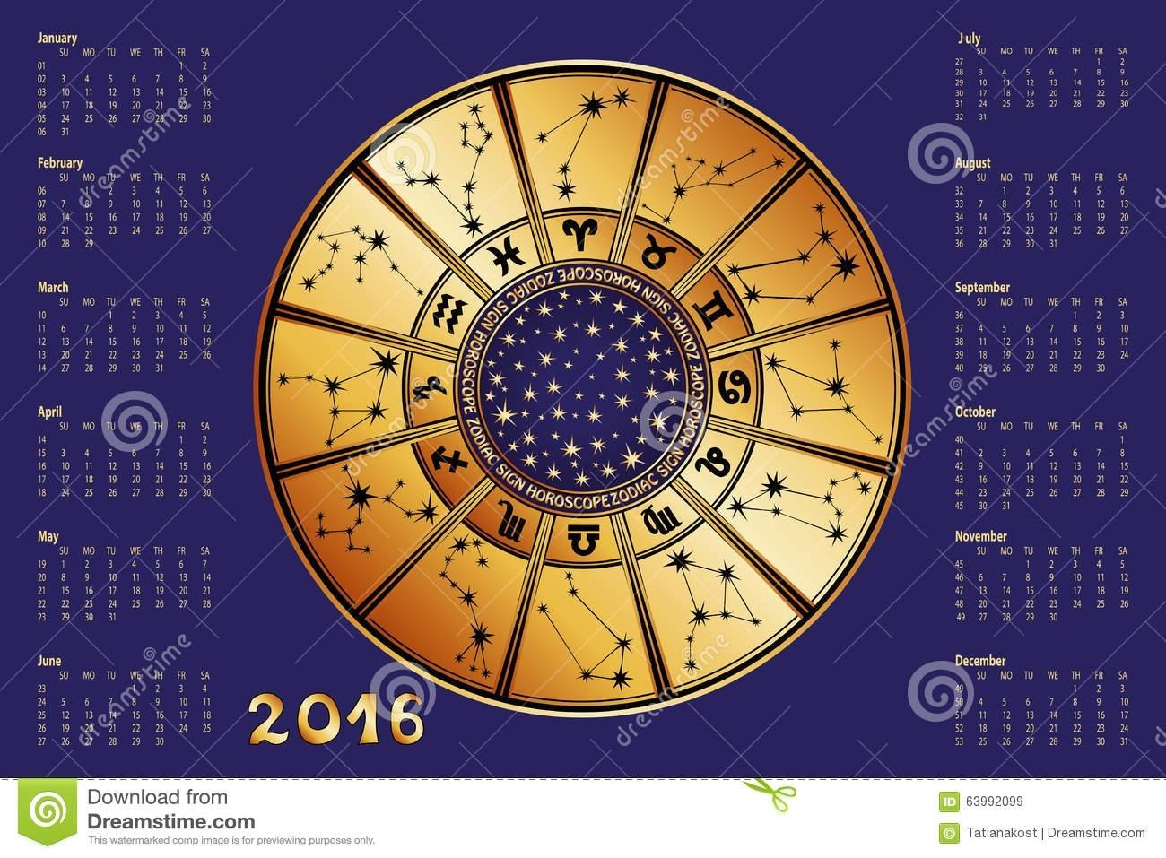 Calendar 2016.horoscope Circle.zodiac Sign Stock Vector