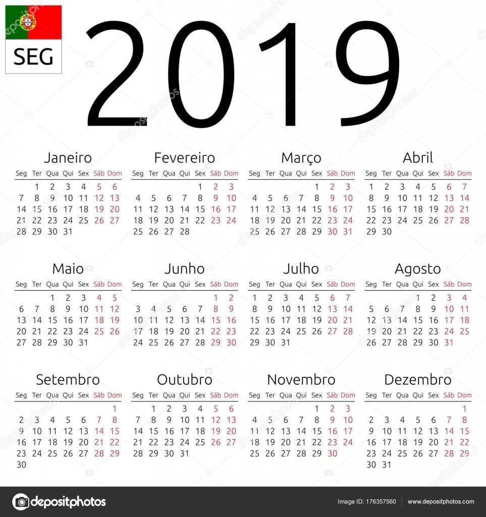 Calendar 2019, Portuguese, Monday — Stock Vector © Dmitry_Guzhanin