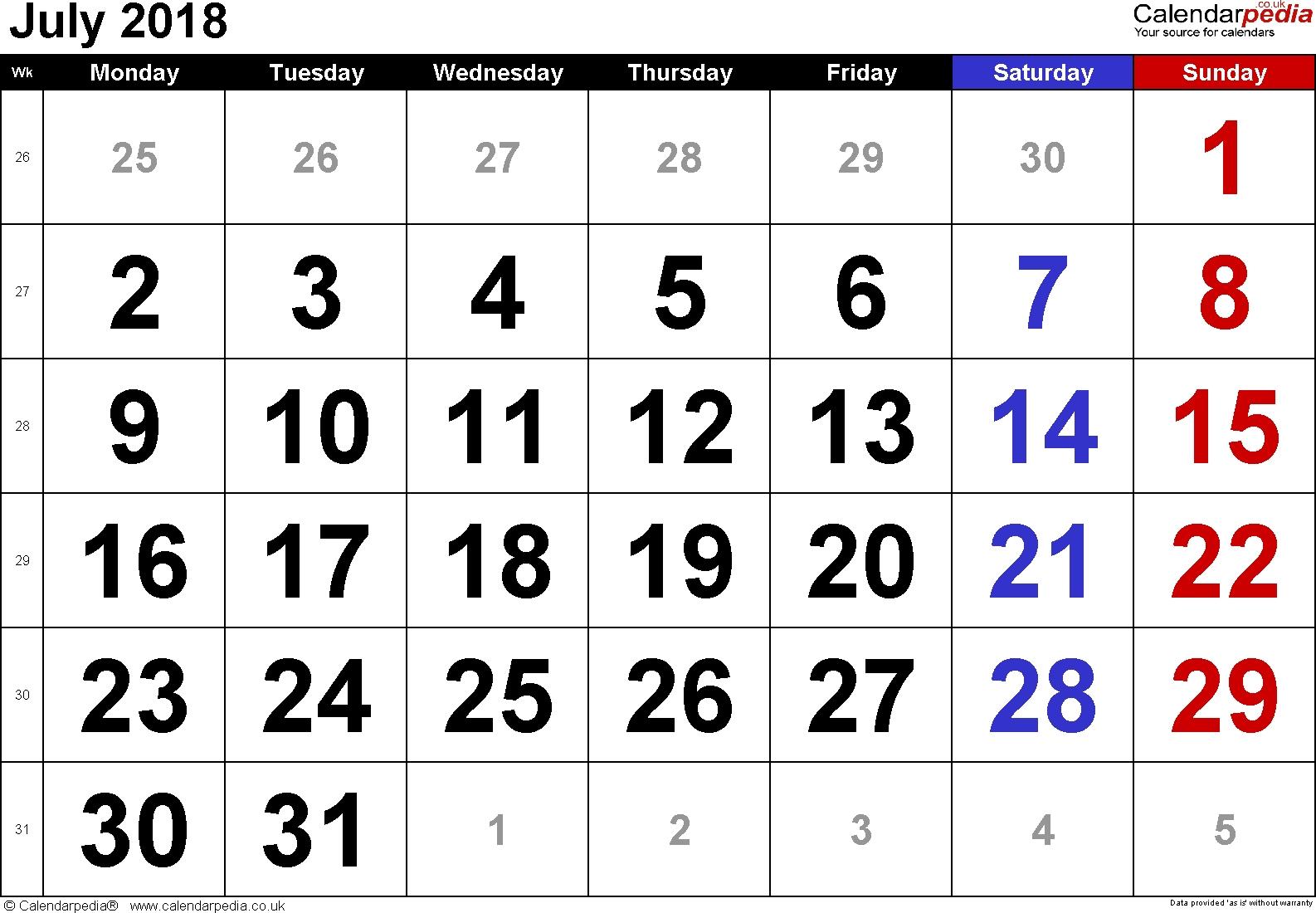 Calendar July 2018 Uk, Bank Holidays, Excel/pdf/word Templates
