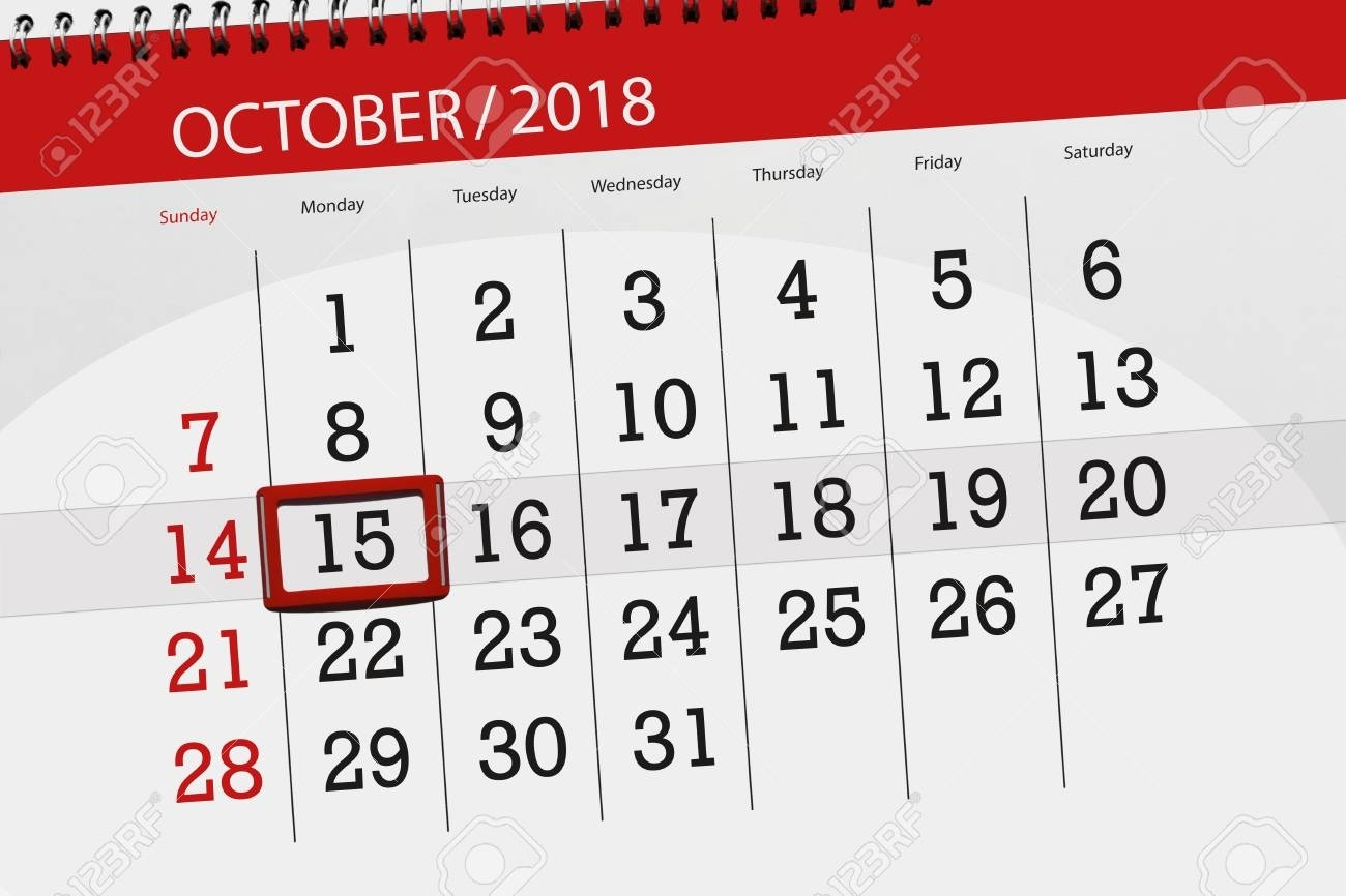 Calendar Planner For The Month, Deadline Day Of Week 2018 October