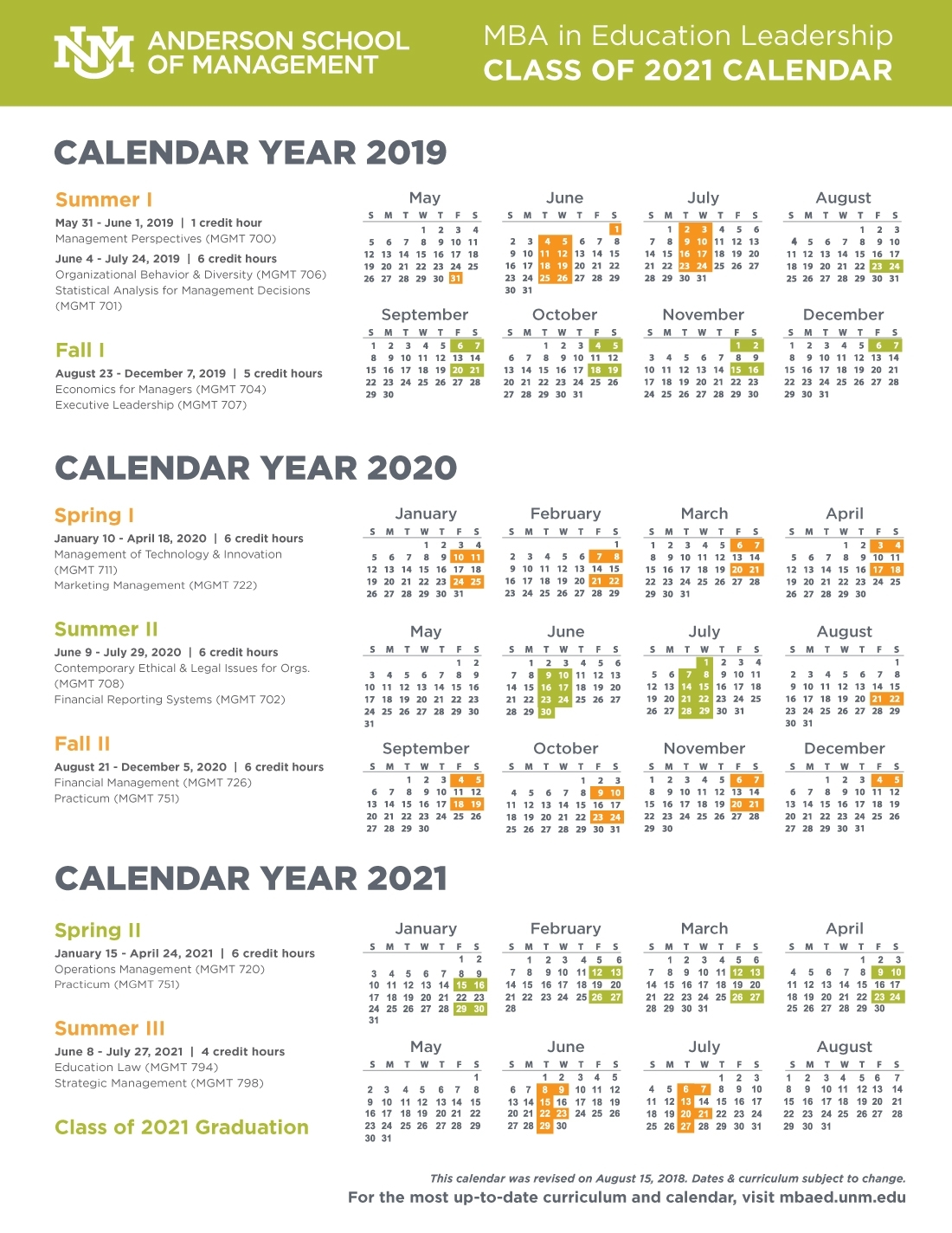 Calendar, Schedule, And Course Descriptions :: Anderson Mba In