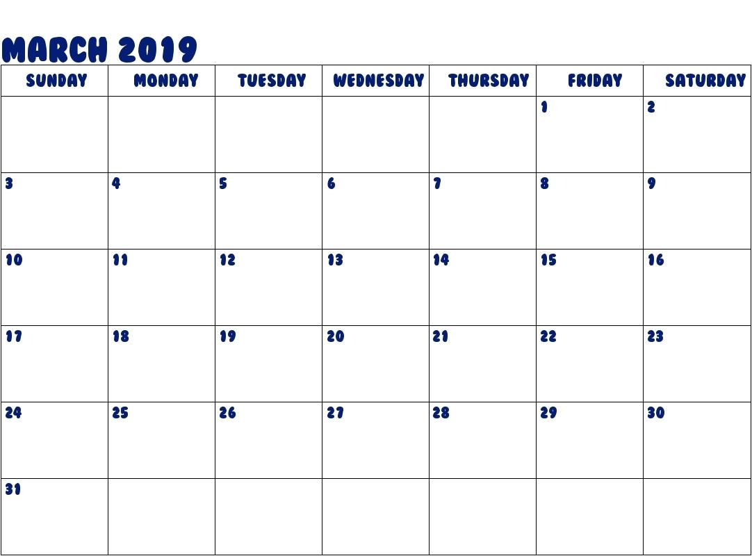 Calendar Template No Download | Download Free Blank Calendar 2019