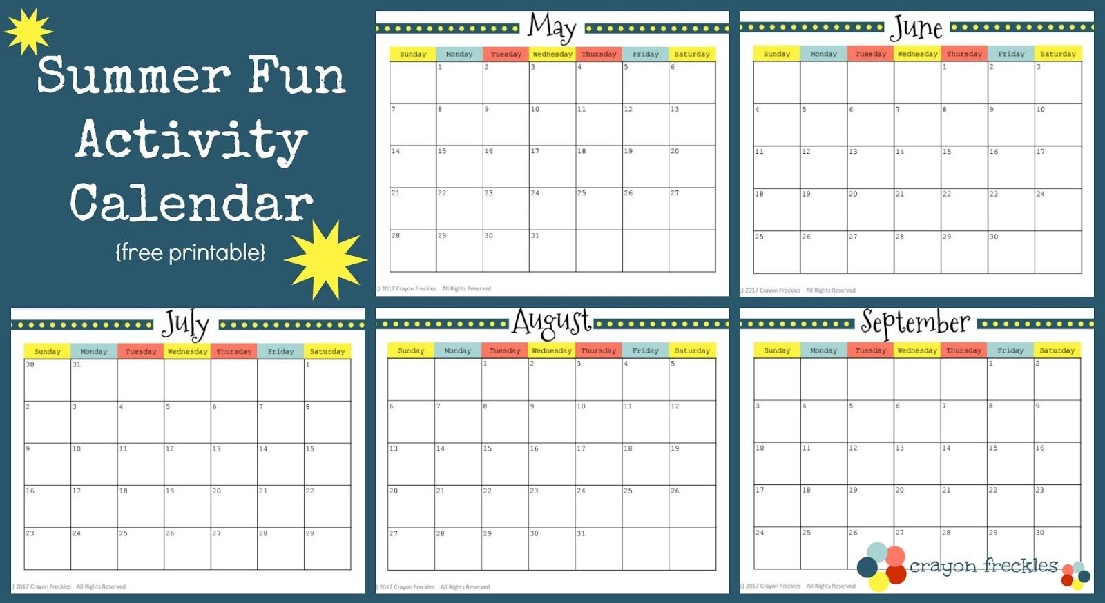 Crayon Freckles: 25 Summer Activities And Free Printable Calendar