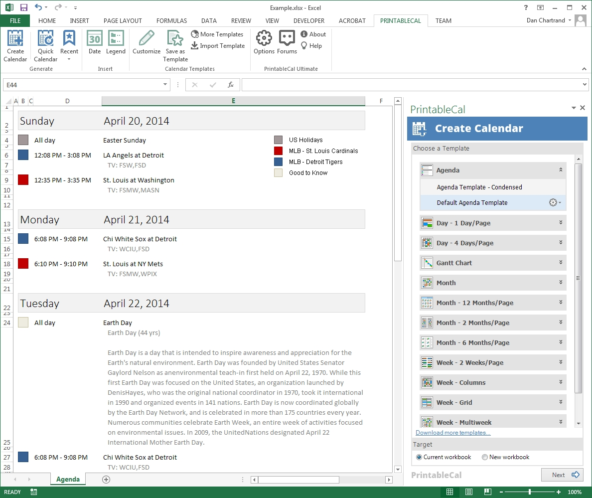 Customize And Print Calendar Templates In Excel And Word