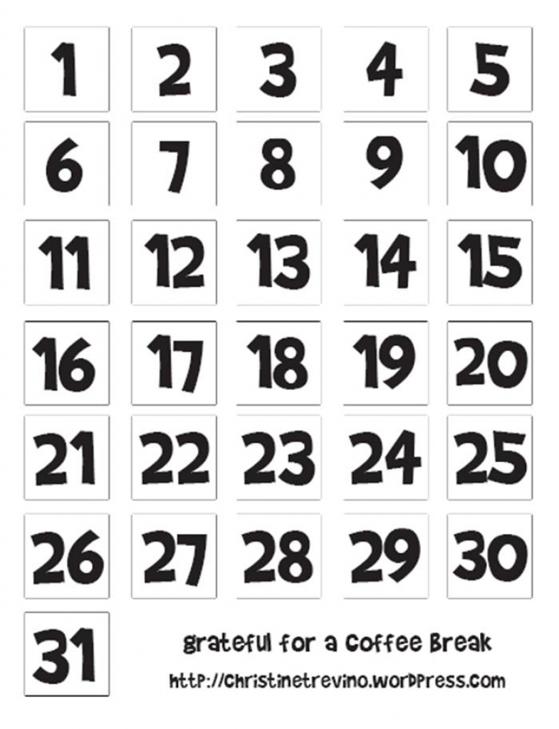 Cute Calendar Numbers Numbers 1-31 | 2018 Calendar Template Design