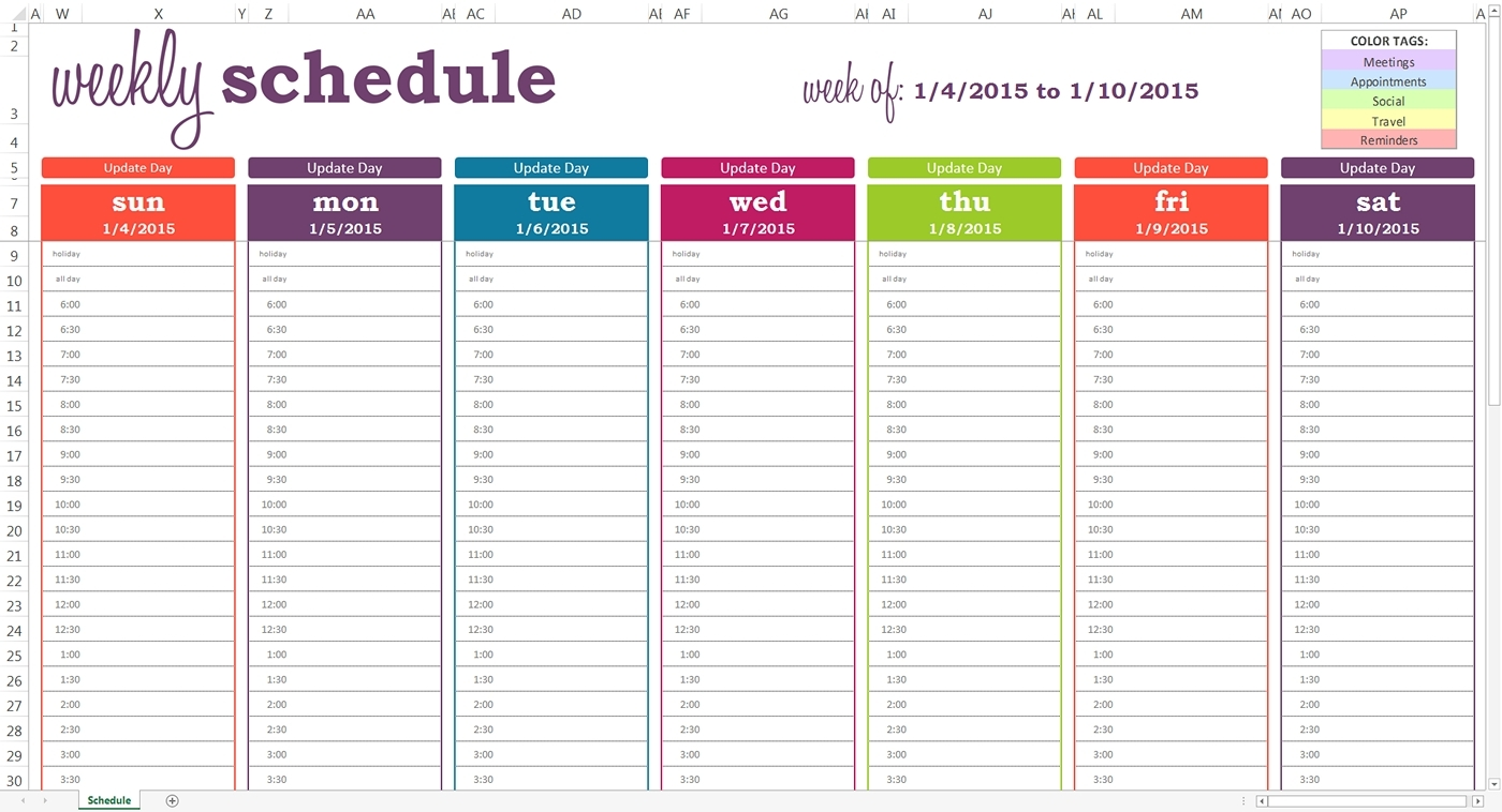 Daily Schedule With Time Slots   Template Calendar Printable