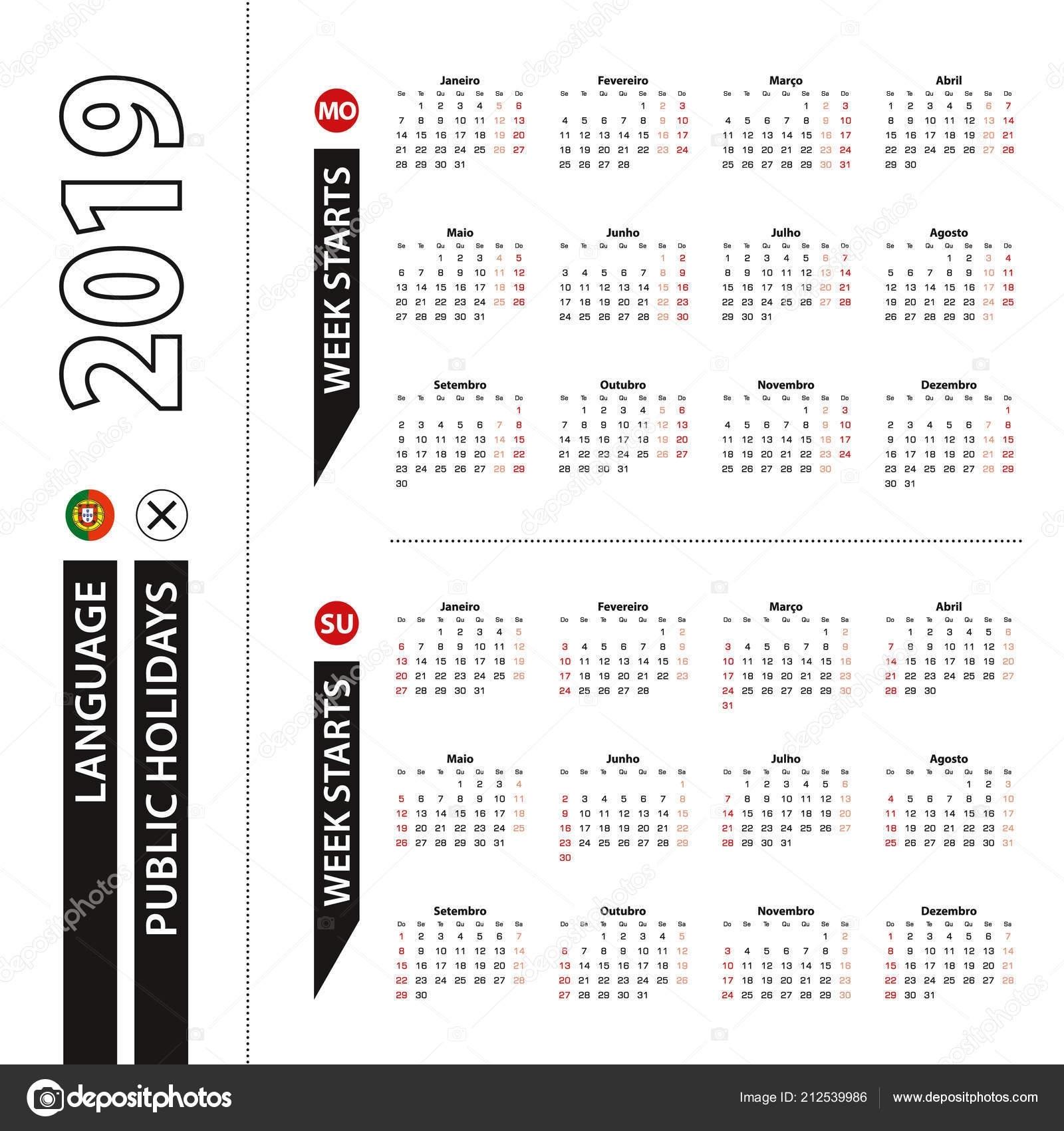 Duas Versões Calendário 2019 Português Semana Começa Segunda Feira