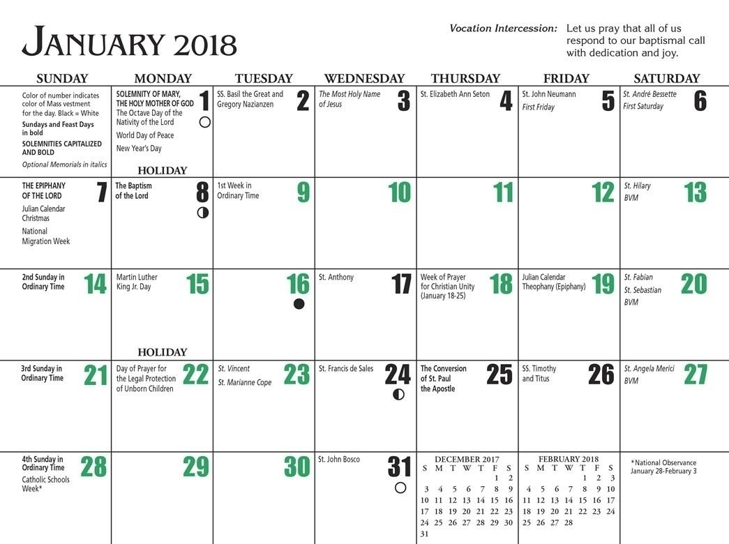 Free Printable Catholic Liturgical Calendar 2021 - 20 ...
