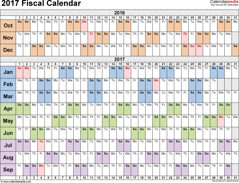 Fiscal Calendars 2017 As Free Printable Pdf Templates