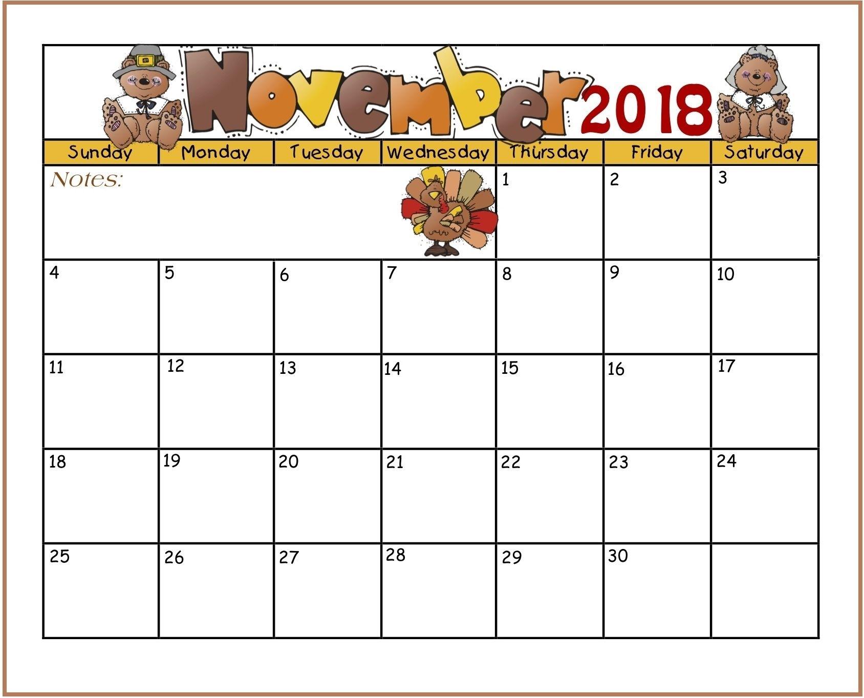 For 2018 Free Download | November Calendar | November Calendar