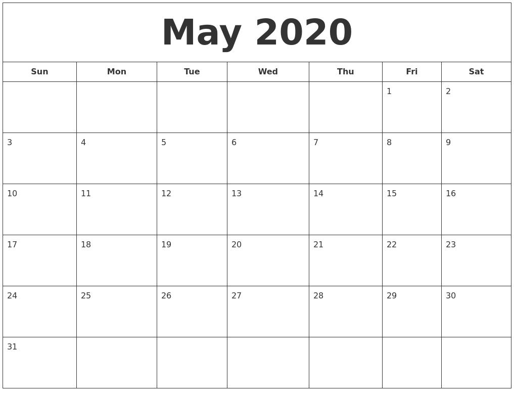 Free Download Printable April 2020 Calendar Large Box Holidays
