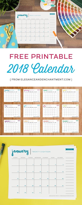 Free Printable 2018 Calendar - Elegance & Enchantment