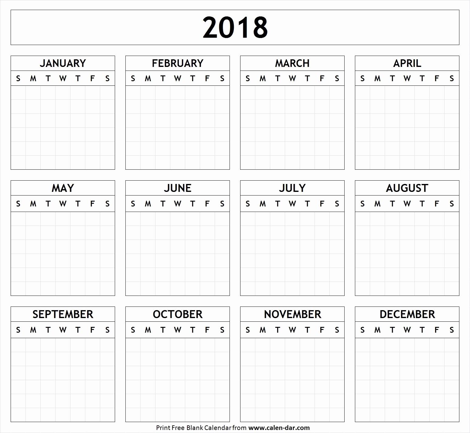Free Printable 2018 Calendar With Large Boxes Printable Calendar