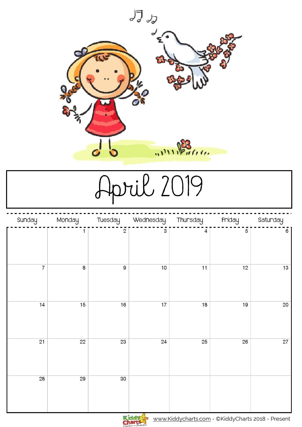 Free Printable 2019 Calendar For Kids Printable Calendar 2019 Cute