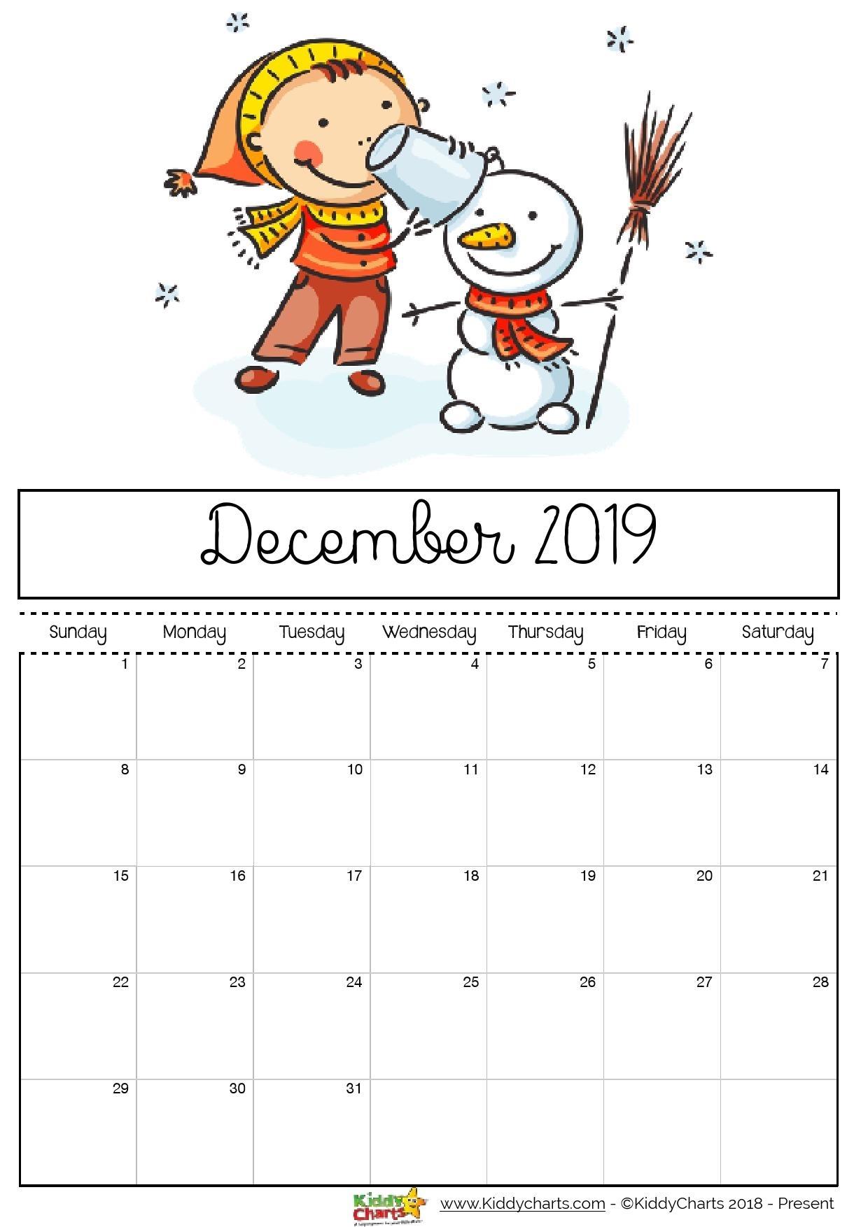 Free Printable 2019 Calendar - Print Yours Here   Kiddycharts