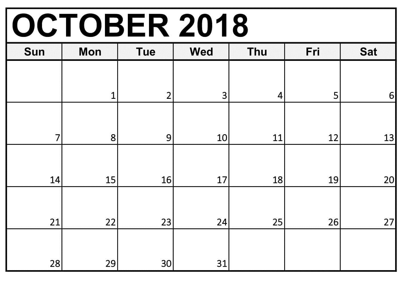 Free Printable Calendar October 2018 Large Numbers | October 2018