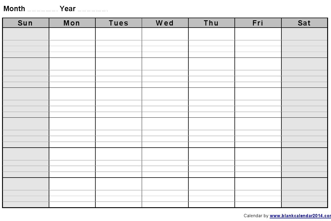 Free Printable Calendar With Lines To Write On Calendars Blank