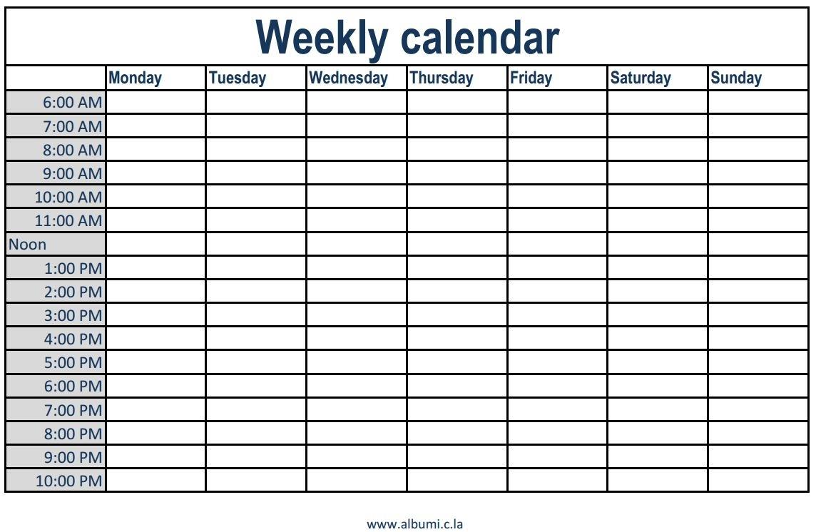 Free Printable Weekly Calendar With Time Slots – Kairo.9Terrains.co