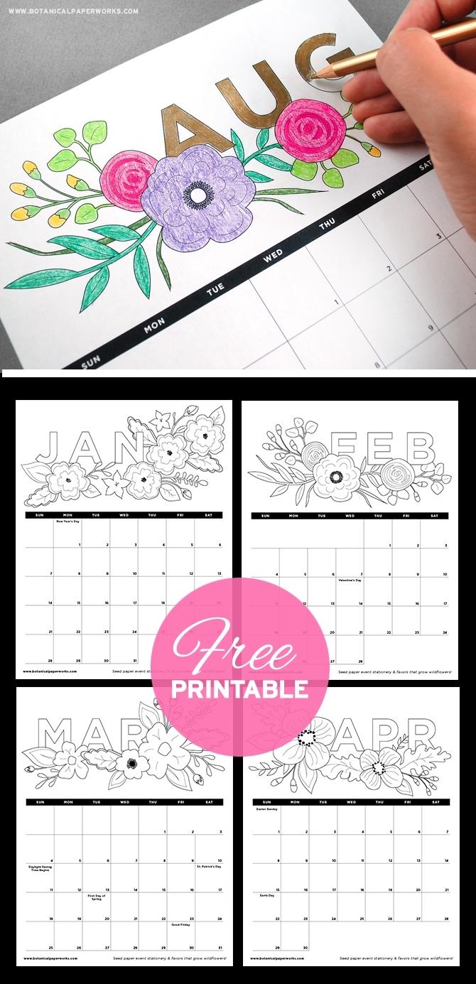 Free Printables} Adult Coloring Book Calendar   Blog   Botanical
