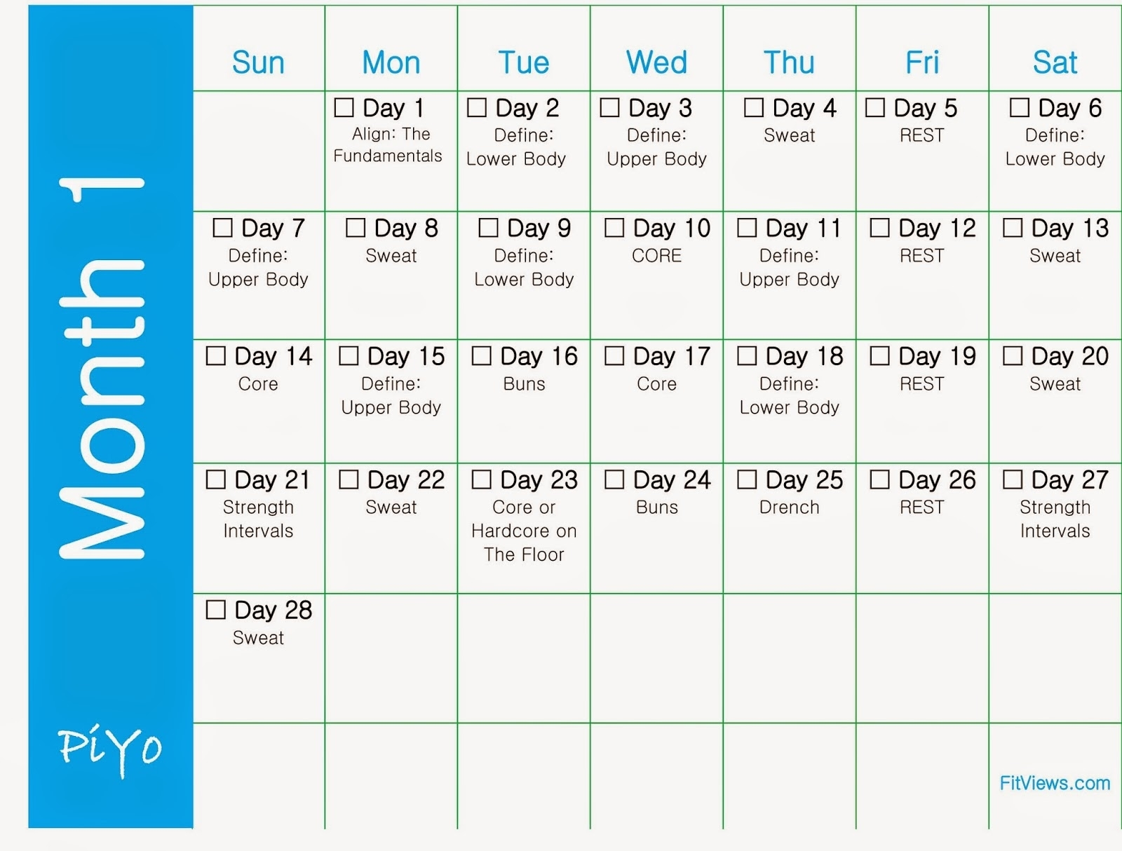Getting Started With Piyo + Free Printable Piyo Workout Calendars