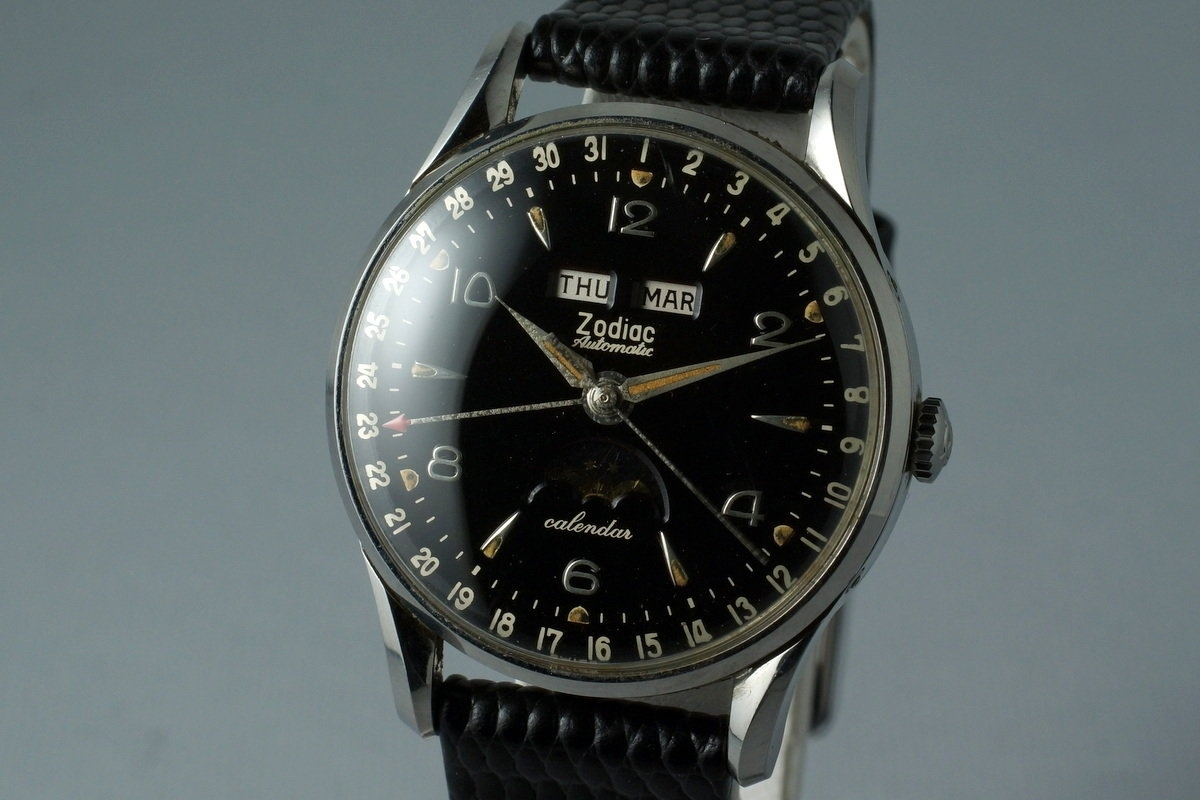 Hq Milton - Vintage 1958 Zodiac Triple Date Moonphase Automatic With