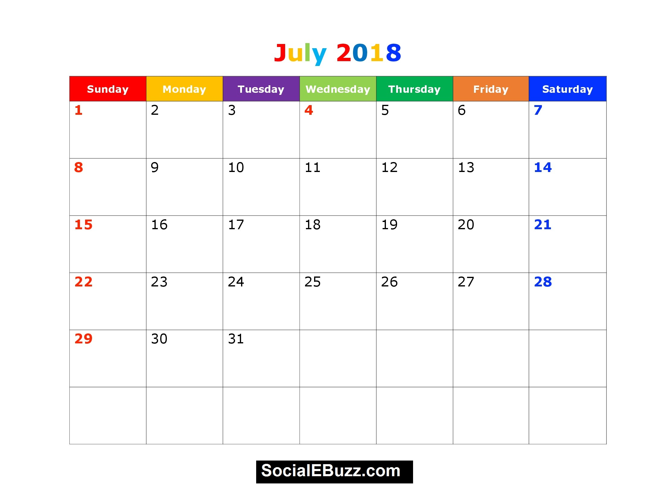 July Printable Calendar 2018 Imom   Calendario Pis Intended For