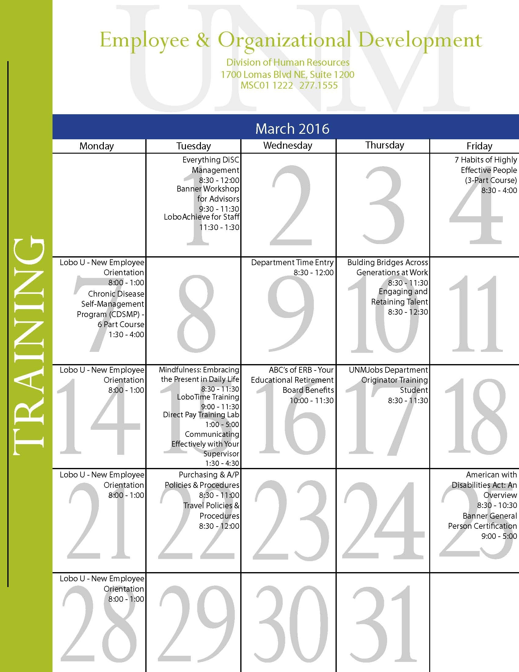 March 2016 Training Calendar :: Human Resources | The University Of