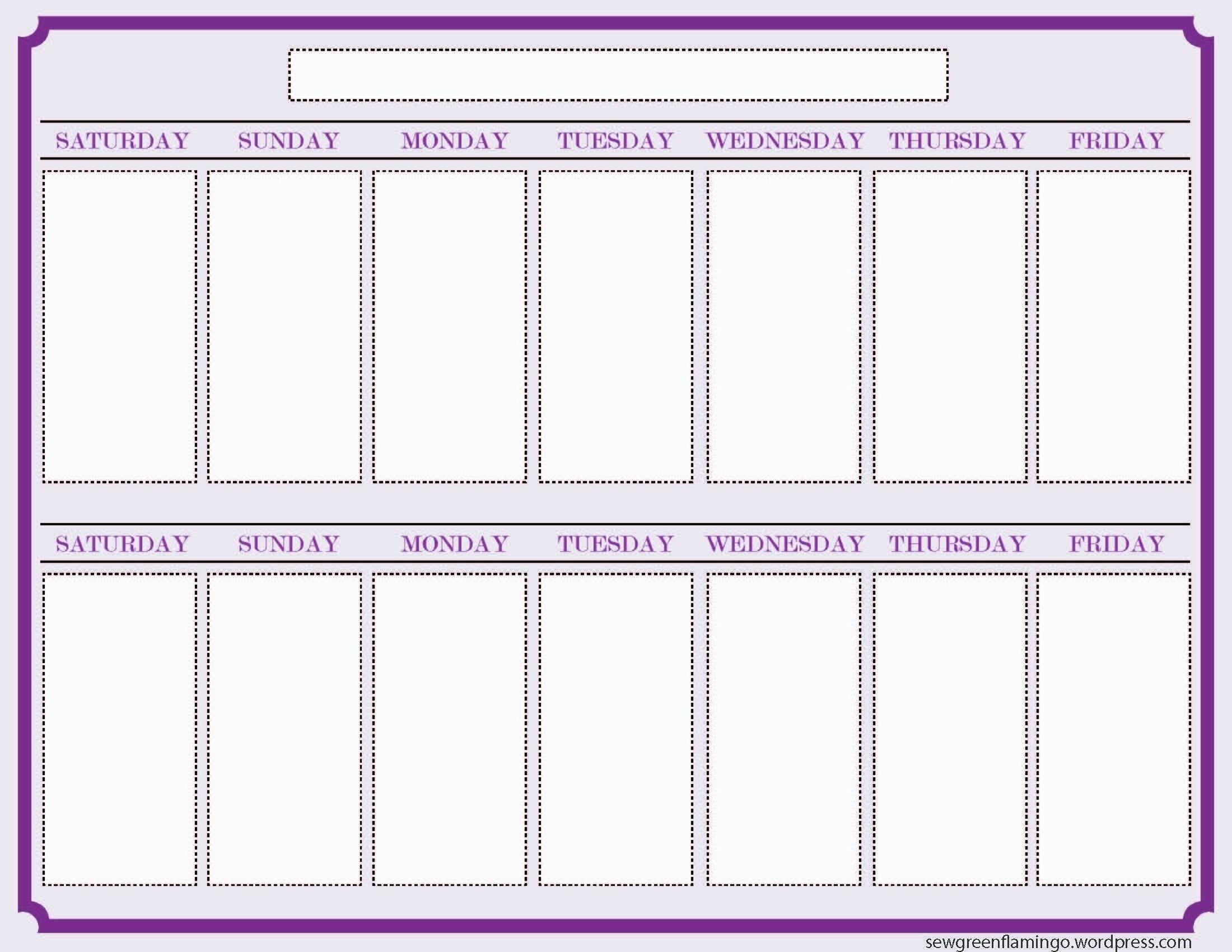 One Week Calender – Baskan.idai.co With 2 Week Printable Calendar